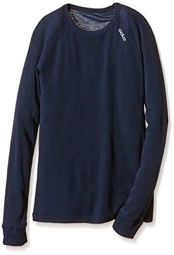 Odlo - Crew Neck Warm - T-shirt - manches longues - Enfant - Bleu (Navy New) - FR: 2 - 3 ans (Taille Fabricant: 92 cm)