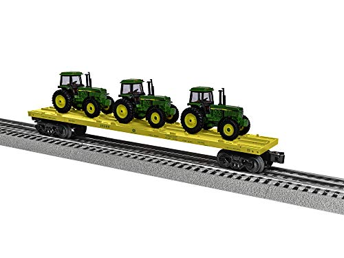 Lionel John Deere, Electric O Gauge Model Train Cars, Flatcar with Tractors