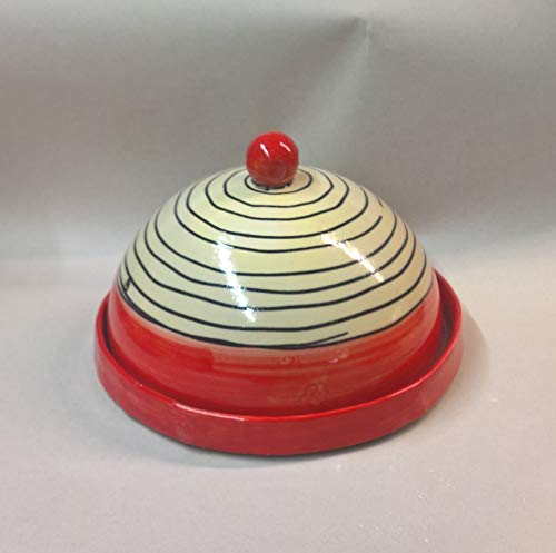 Käseglocke Käseplatte mit Deckel Keramik in redline