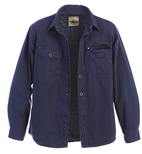Gioberti Men's Brushed and Soft Twill Shirt Jacket with Flannel Lining, Navy, L