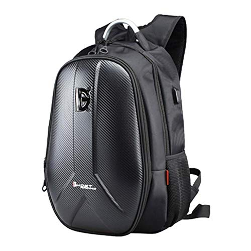 PER Motorcycle Backpack 55L, Carbon Fiber Hard Shell Backpack Motorbike Helmet Backpack Large Capacity Cycling Travelling Storage Bag 15.6 Inch Laptop Backpack with USB Port & Waterproof Cover