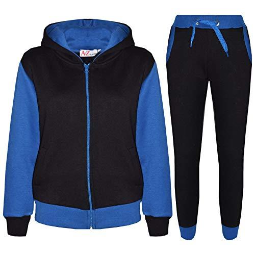 A2Z 4 Kids® Kinder Trainingsanzug Mädchen Jungen Designer Plain Kontrast - T.S Plain 101 Royal 7-8