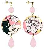 IN Lebole Collezione The Circle Fiore con Gatto Nero Orecchini da Donna in Ottone Pietra Rosa