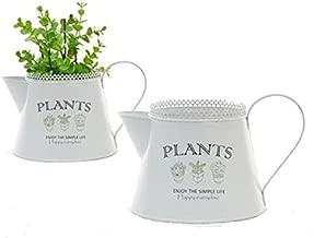 Marron Lot de 2 mi-hauteur Bois Hi/érarchis/é Succulente support pour pot de fleurs avec 8/Mini pots de fleurs en c/éramique Blanc