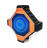 ECOXGEAR EcoEdge Plus GDI-EXEGPL400 Rugged Waterproof Floating Portable Bluetooth Wireless 20 Watt Smart Speaker with Bottle Opener and LED Party Lights (Orange)