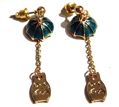 My Neighbor Totoro forest sprite & umbrella goldtone earrings Hayao Miyazaki Studio Ghibli Anime
