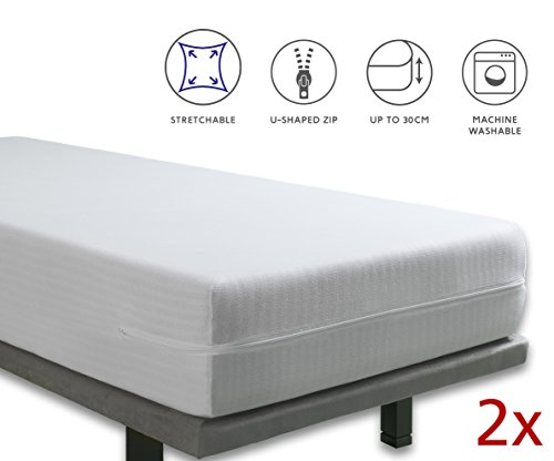 Tural - Extra elastischer und widerstandsfähiger Matratzenbezug Reißverschluss. Set mit 2 Einzelgrößen 90 x 200 cm
