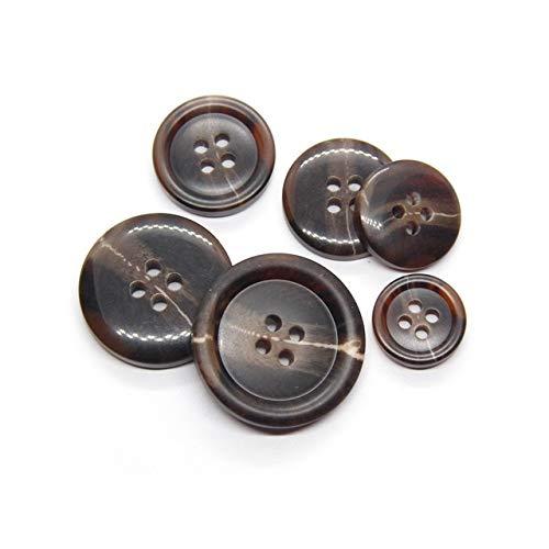 Linka Botones Negros con patrón de Cuerno de imitación de 15-25mm para Ropa, Traje de Hombre, Abrigo, decoración, Accesorios Hechos a Mano,Botones