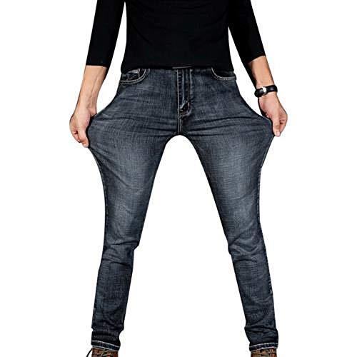 N\P Jeans para Hombres Pantalones DelgadosJeansclásicosPantalones Masculinos Pantalones Casuales Ajustados con Elasticidad Recta