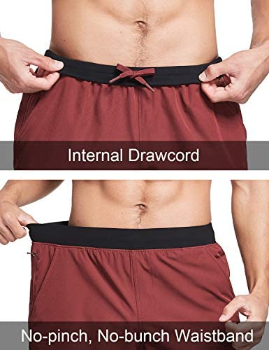 """BALEAF Men's 7"""" 2 in 1 Workout Training Running Shorts Athletic Compression Liner Zipper Pocket"""