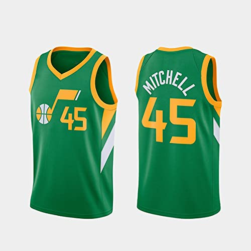 CYYX Jersey de la NBA, 8 Estilos, Jazz # 45 Donovan Mitchell Retro Hombre Basketball Jersey, Ropa Deportiva, Camiseta sin Mangas Unisex,G,S