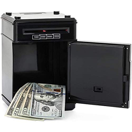 DishyKooker Safe Box Shaped Piggy Bank Aufbewahrungskoffer Ornament Kunststoff 19,5 * 13 * 13,5 cm Geschenk für Kinder Grün + Silber 19,5 * 13 * 13,5 cm articulos de producto