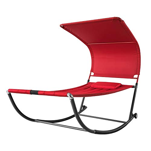 SoBuy OGS44-R Sonnenliege mit Sonnendach und Kopfkissen Schaukelliege Gartenbett Gartenliege mit Rollen Relaxliege Rot Belastbarkeit 200 kg BHT ca: 114x173x227cm