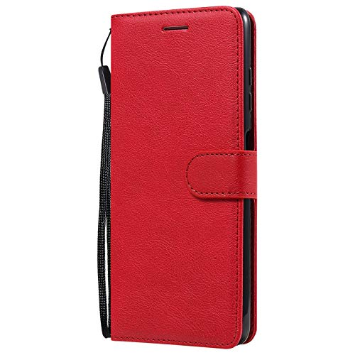 Leather Wallet Case for Xiaomi PocoX3 NFC PU Leather Magnetic Flip Cover with Card Slots Holders Bookstyle Wallet Case for Xiaomi PocoX3 NFC - JEKT052490 Red