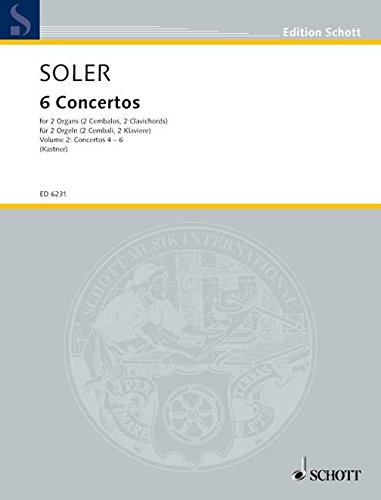 VI Conciertos de dos Organos obligados: Band 2. 2 Orgeln, 2 Cembali, 2 Clavichorde, 2 Klaviere oder Orgel und Cembalo. Spielpartitur. (Edition Schott)