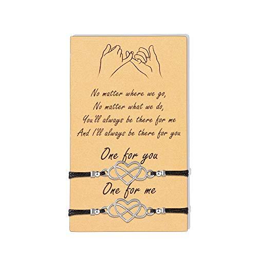 VU100 2PCS Pulseras Mujer Símbolo Amor Infinito Pulsera, Pulsera De Cuerda De Cordón Trenzado De Cuerda Ajustable De Amor Infinito para Mujeres Niñas Pareja Regalo