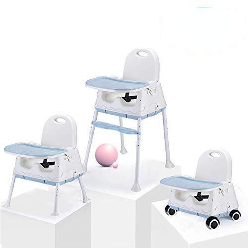 Trona Portátil Multifuncional 3 en 1 Asiento Elevador Para Niños Silla de Alimentación Para Bebés con Bandeja (Azul).