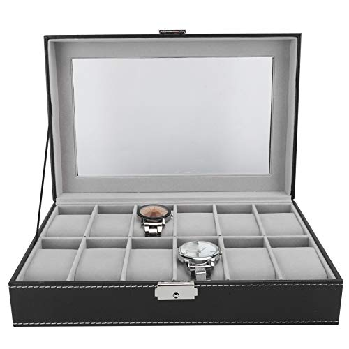 Caja de reloj de rejilla de tejido liso 12 Cuero de PU Multi-posición Negro exquisito en forma para exhibición de tienda