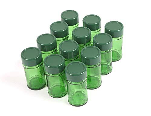 Gewürzgläser Set Teegläser Vorratsglas leer Glasbehälter für Tee und Gewürze grün (12 Stück)