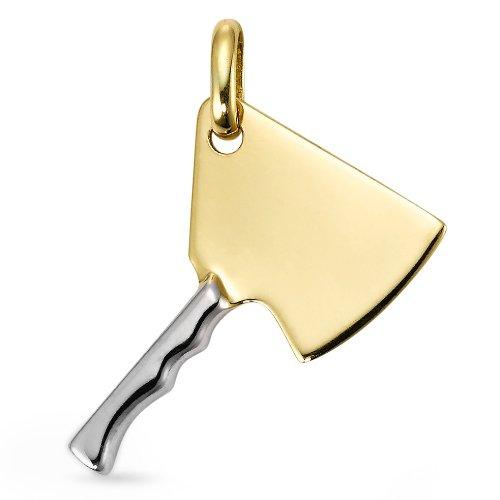 Anhänger 750/18 K Gelbgold Metzgerbeil, Anhängeröse: 2.5 mm, Breite: 16 mm, Länge (mm): 16 mm, Metallfarbe: bicolor, Motiv: Metzgerbeil, Zielgruppe: OPUS