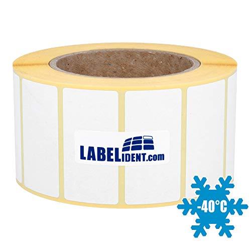 Labelident Tiefkühletiketten verklebbar bis -10°C - 60 x 30 mm - 1500 Papieretiketten Gefriergut auf 3 Zoll Rolle für Standard- und Industriedrucker, matt