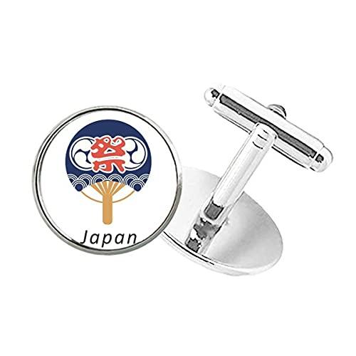 DIYthinker Abotoaduras com clipe de botão redondo para ventilador de papel da cultura japonesa tradicional