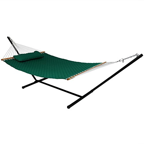 Sunnydaze Quilted Designs Hammock with Stand 2 Person Heavy Duty - Double Hammock with 12 Foot Steel Stand for Backyard & Patio - 350 Pound Weight Capacity - Green