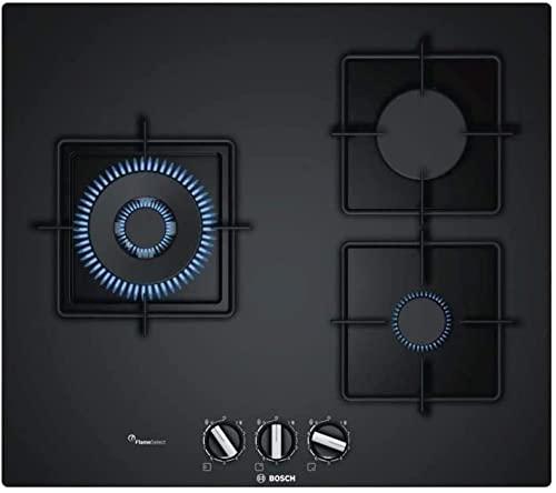 Bosch PPC6A6B10 Table à gaz encastrable Série 6-3 foyers - Puissance 8000 W - 60 cm - Verre Trempé - Noir