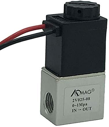 """AOMAG 1/4"""" DC 24V 2 Way Normally Closed Pneumatic Aluminum Electric Solenoid Air Valve"""