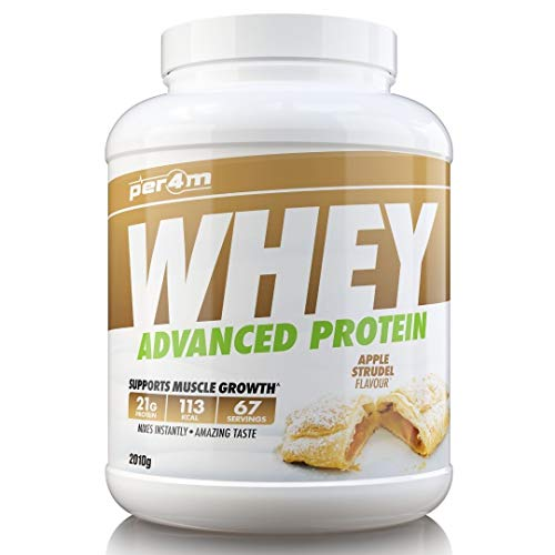 per4m Protein Whey Powder | 67 Servings of High Protein Shake with Amino Acids | for Optimal Nutrition When Training | Low Sugar Gym Supplements (Apple Strudel, 2010g)