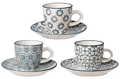 Bloomingville Espressotasse mit Untertasse Kristina, saphirblau, Keramik, 3er Set