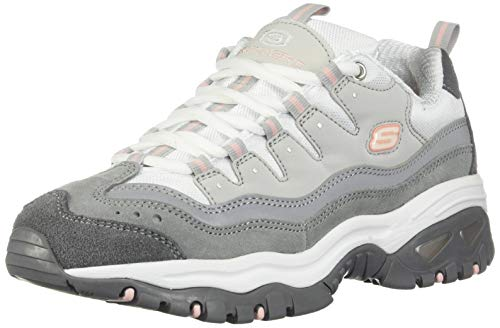 Skechers Damen Energy-Ocean Tide Sneaker, Grau (Gray & Charcoal Leather/White Mesh/Pink Tirm Gyw), 39.5 EU