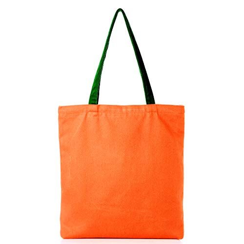100% Natural Cotton Canvas Reusable Blank Tote Bags, Fashion Tote Bag Gifts,Eco Friendly Tote Bags with Inner Pocket Gift Perfect for Shopping (Bright Orange)