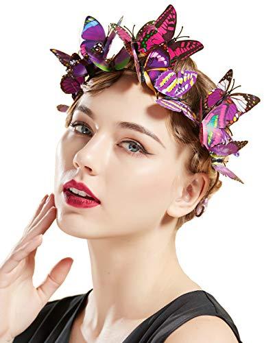 Coucoland Fascinator Headband Butterfly Mesh Ribbon Headband Festival Costume Wedding Tea Party Hair Accessory for Women (Purple Ribbon)
