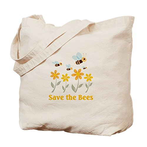 CafePress Save The Bees Natural Canvas Tote Bag Reusable Shopping Bag
