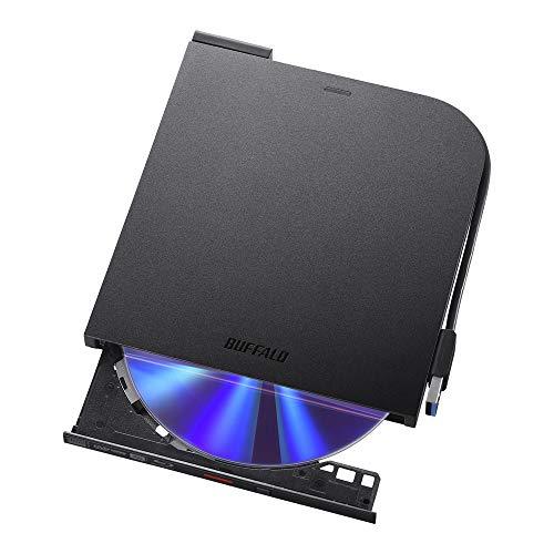 BUFFALO USB3.2(Gen1)/3.0 ブルーレイドライブ 書込み/再生/編集ソフト バスパワー(給電ケーブル付) 外付け 薄型ポータブルBD 国内メーカー Win/Mac BRXL-PTS6U3-BK/N