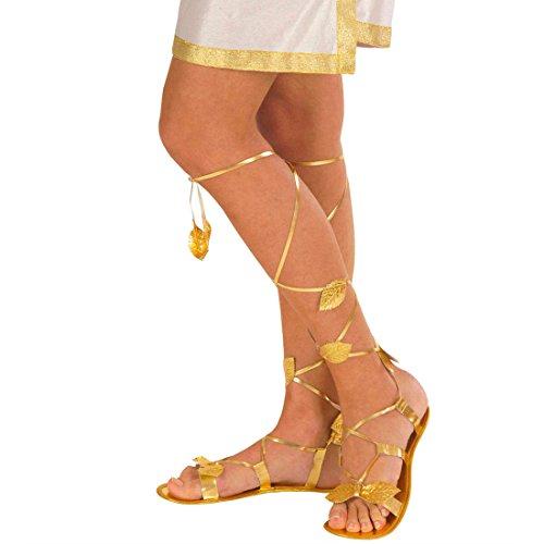 NET TOYS Damen Römersandalen in Gold Antike Schuhe Gold Griechische Göttin Elfenschuhe Römische Damen Sandalen Römerin Griechin Elfe Kostüm Accessoire