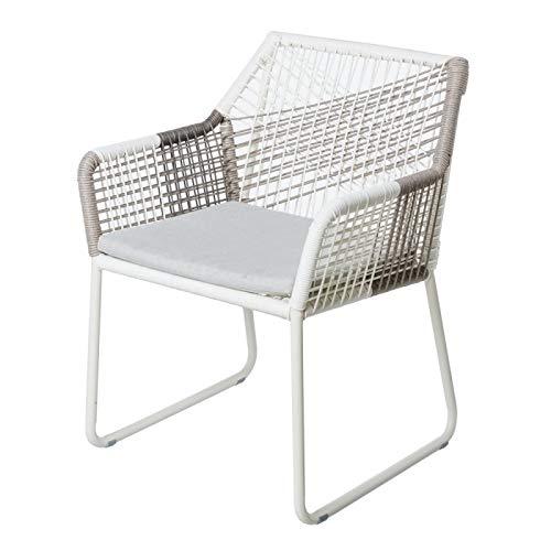 Tuinstoel van aluminium en rotan touw, wit en grijs Braga – L 60 x B 61 x H 78,50