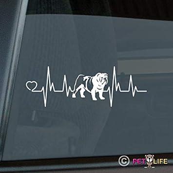 Bulldog Little Heart Window Decal Sticker *J585*