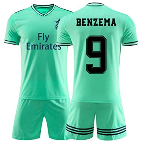 XH Herren Fußbälle Trikot -Set Trainingskleidung Karim Benzema # 9, alle Größen Kinder und Erwachsene (Color : Green, Size : Children-150)