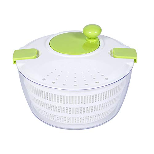 Large 4 Quarts Salad Spinner Vegetable Washer with Bowl, Manual Lettuce Spinner and Storage with Lid Lock & Rotary Handle with 3 Reusable Storage Bags