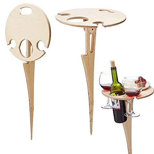 Weintisch im Freien, Tragbarer Klapptisch Wein Picknicktische im Freien für Weinliebhaber im Freien, Garten, Reisen, Sand und Gras.
