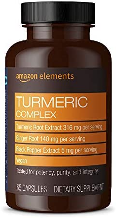 Amazon Elements Turmeric Complex 316 mg Curcumin 140 mg Ginger 5 mg Black Pepper Joint Immune product image