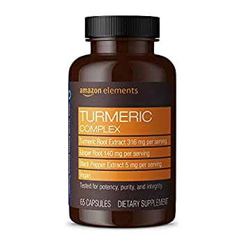 Amazon Elements Turmeric Complex 316 mg Curcumin 140 mg Ginger 5 mg Black Pepper - Joint & Immune System Healthy Inflammation Response - 65 Capsules  2 month supply