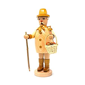 Drechslerei Friedbert Uhlig 020/n - Figura de trabajador del bosque con cesta, madera natural, 35 cm de alto, torneada, hecha a mano de los Montes Metálicos