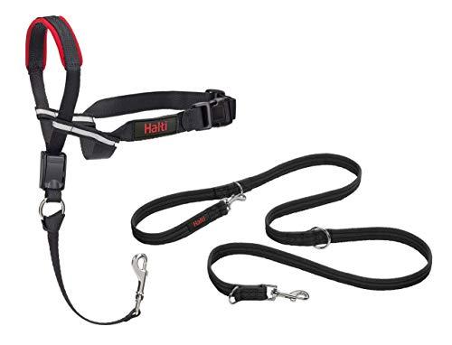Halti Optifit Headcollar and Training Lead Combination Pack, Stop Dog Pulling on Walks, Includes Medium Optifit Head Collar and Double Ended Lead, Black, Medium Head Collar (14324W)