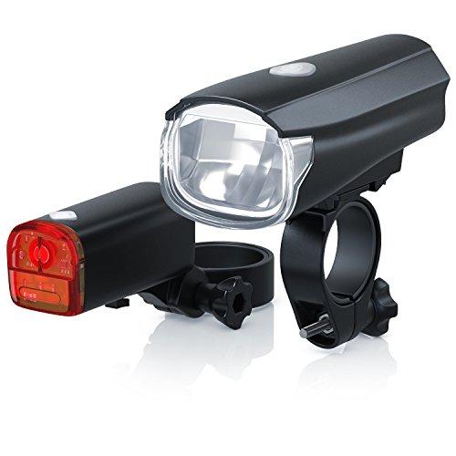 CSL - Fahrradlicht Set StVZO zugelassen - LED Fahrradlampe Fahrradlicht Fahrradlampenset - Frontlicht und Rücklichter - batteriebetrieben - 30 Lux