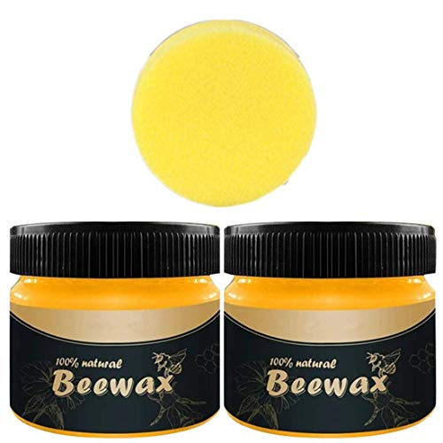 2 PACK Wood Seasoning Beewax, Multipurpose Natural Beeswax Wood Furniture Cleaner and Polish for Furniture, Floor, Tables, Cabinets