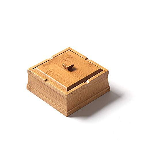 SHUMEISHOUT Simple Creativo bambú Decorativo cenicero con Muebles de Tapa Personalidad Cigarrillos...