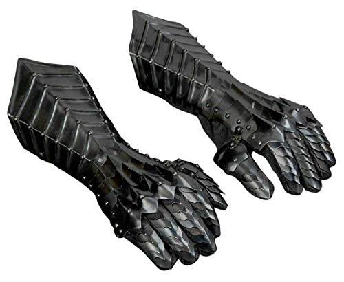 Black Antique Nazgul Gauntlets Steel Medieval Armor Gloves ~ Crusader LARP Gauntlets